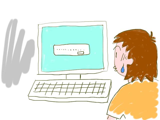 エラーを出すパソコンのイラスト