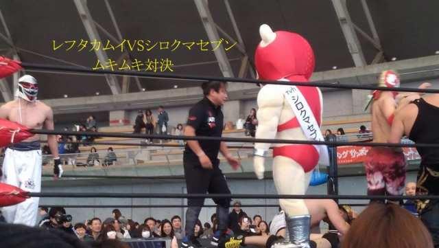 プロレスリングサッポロ・レフタカムイ選手VSテレビ北海道シロクマセブン