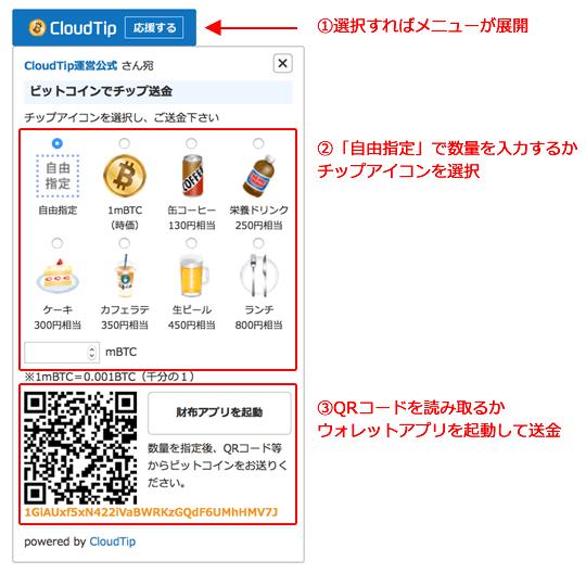 チップ受付用ウィジェット|ビットコインを贈り合うCloudTip