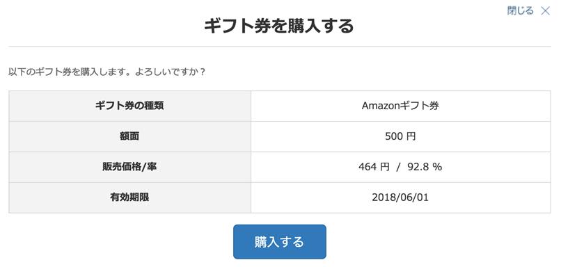 amatenのAmazonギフト券購入画面|SNS型ビットコインウォレットのCloudTip
