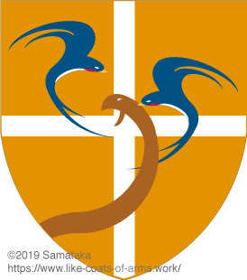 two swallows attacking a snake