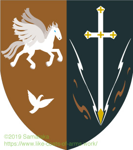 winged horse & pigeon , sword
