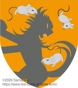 three mice attacking a cat