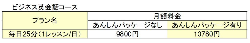 レアジョブ料金_ビジネス