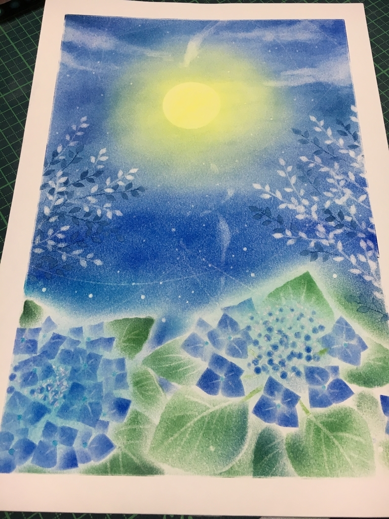 藍色のパステル画
