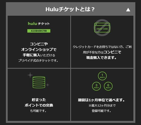 Hulu チケットの説明