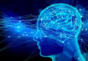 青い背景に人間の脳の神経細胞のイメージ