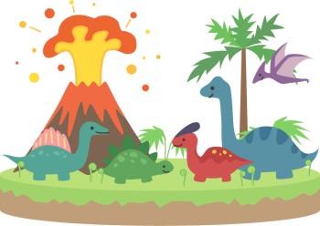 噴火する火山とかわいい恐竜のイラスト