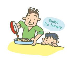 料理を作るお父さんと楽しみに待っている男の子のイラスト