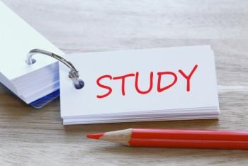 単語帳に書かれた「STUDY」の赤い文字と赤鉛筆