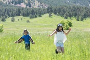 草原を走る