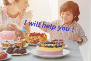 ケーキ作りを手伝う男の子