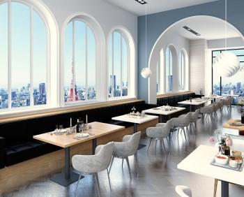 爽やかな色調のレストラン