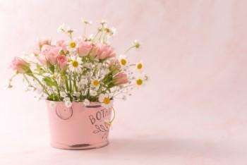 ピンクの背景にブリキのバケツに活けられたピンクのお花