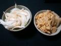 [夕飯] オニオンスライスとチャンプル的なもの