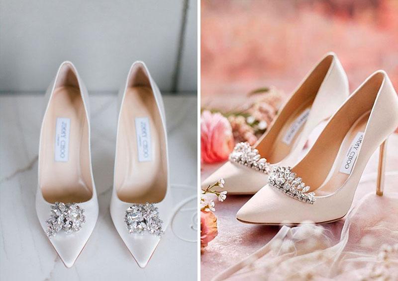 escarpins de mariée blanches orné de strass à talon haut