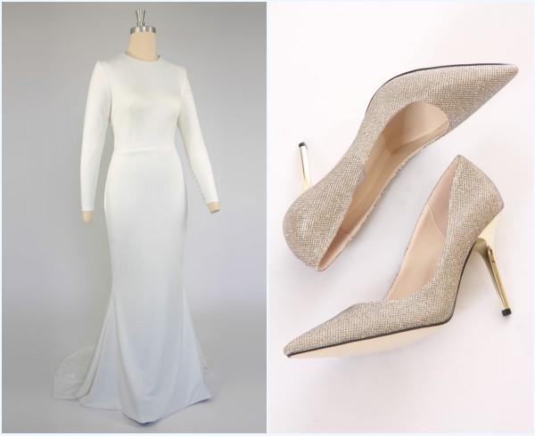 sandales dorée et robe de mariée simple avec manche longue