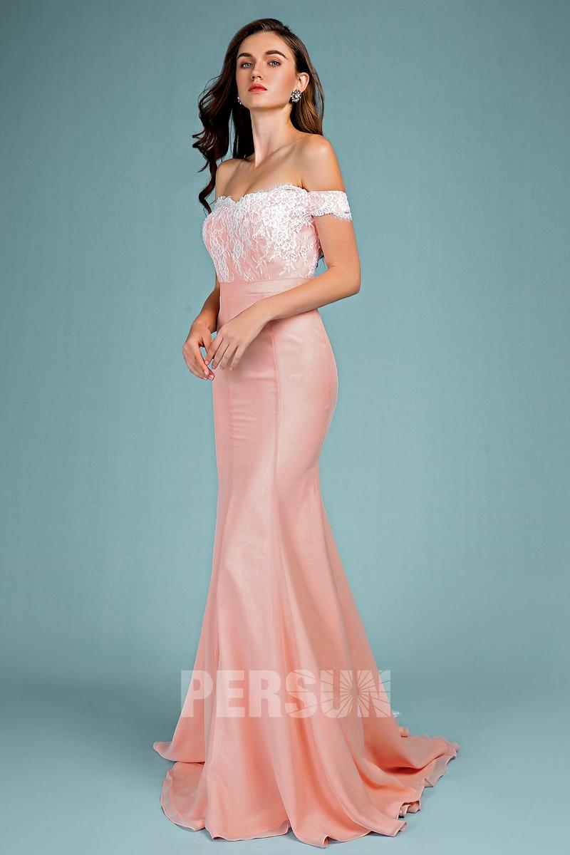 robe de soirée vieux rose sirène épaule dénudé appliqué de dentelle coton