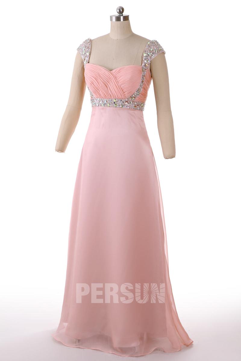 robe de soirée rose longue avec bretelle orné de strass