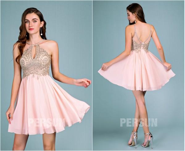 robe de soirée rose courte col américain appliqué