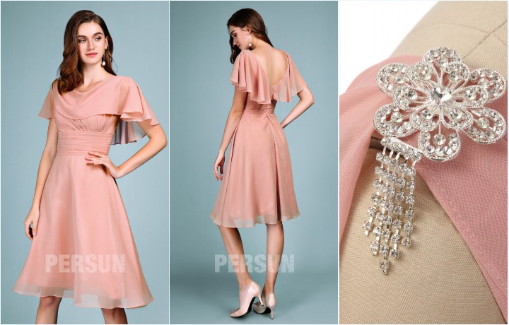 robe de soirée rose simple courte 2019 orné de broche