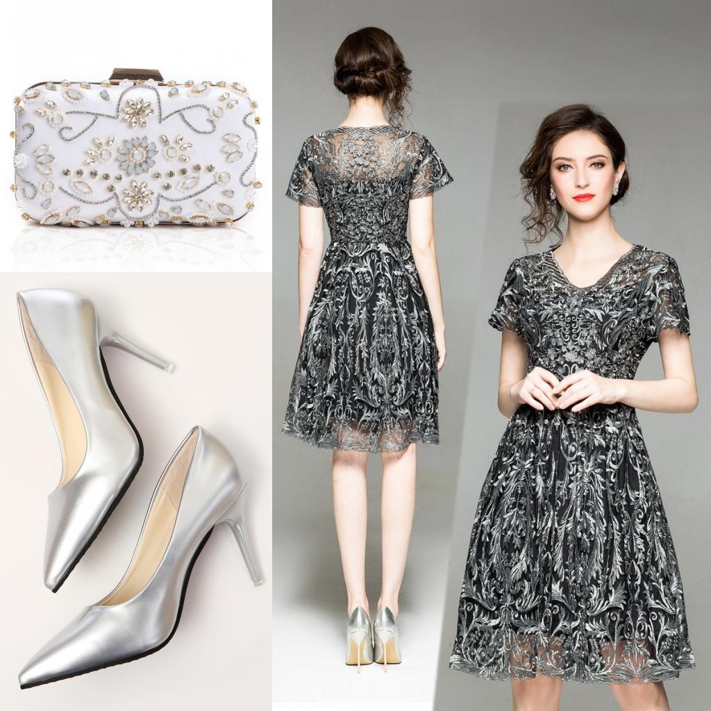 assortir robe noire courte dentelle à col en v manches courtes
