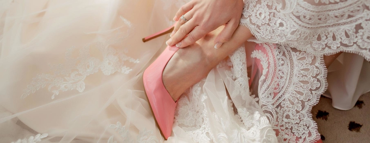 chaussures de mariage rose