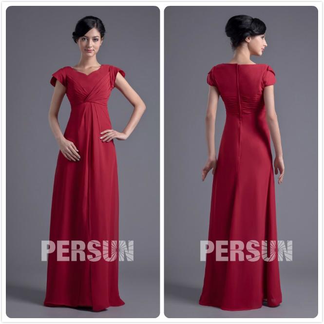robe rouge longue simple pour mère du marié