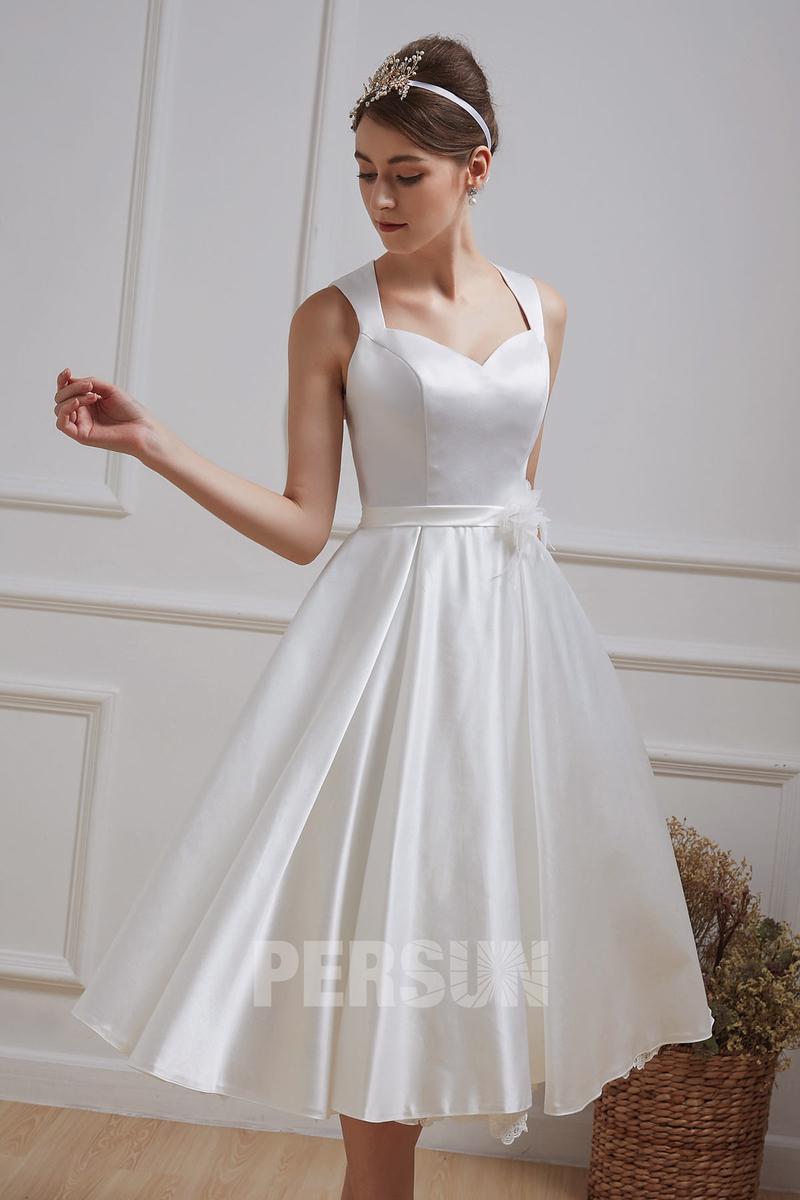 robe de mariée mi-longue satin minimaliste 2020