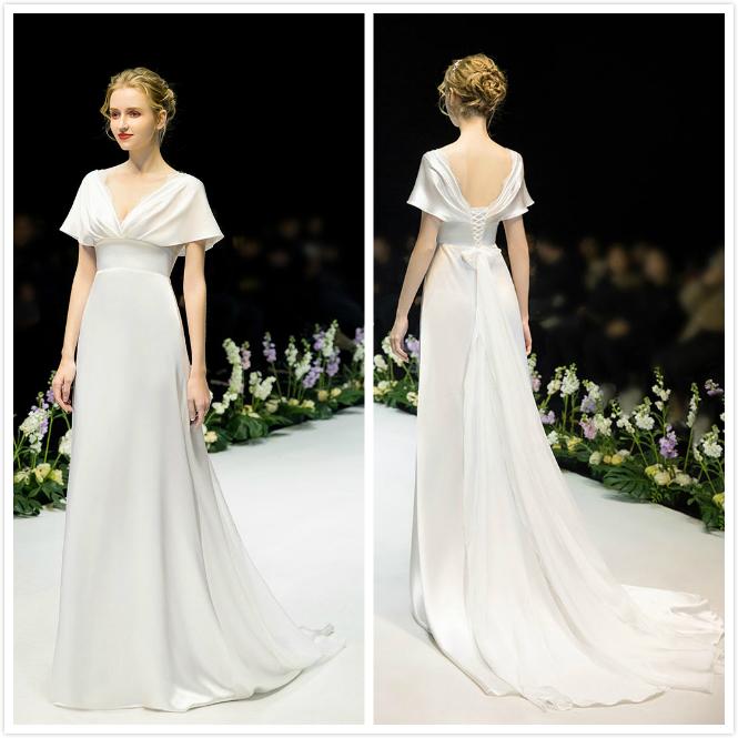 robe mariée longue minimaliste col v 2020