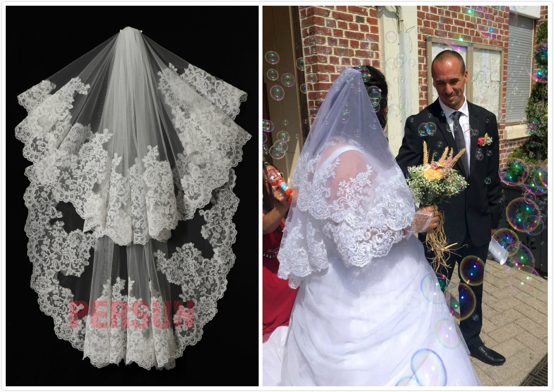 voile de mariée court dentelle vintage