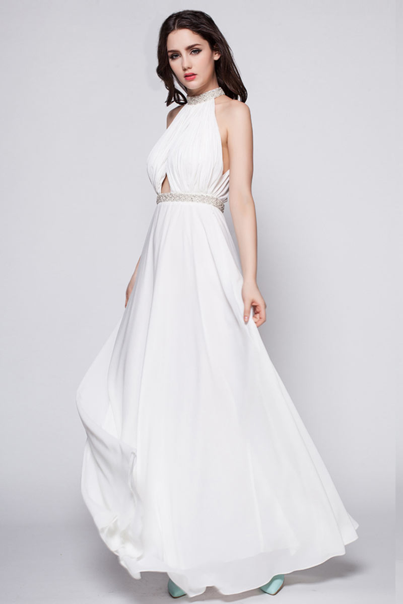 robe longue mariée col halter dos découpé en mousseline