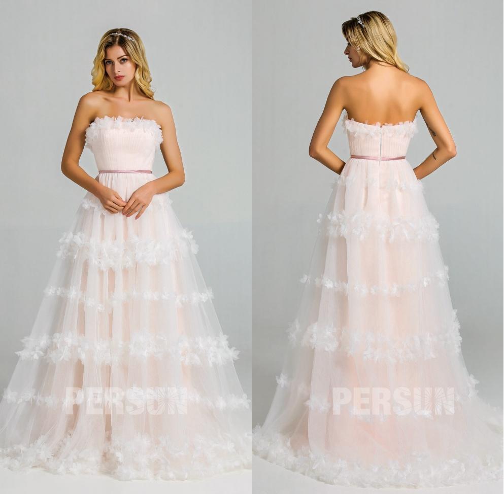 robe mariée bustier droit doublure rose fleurs 3D