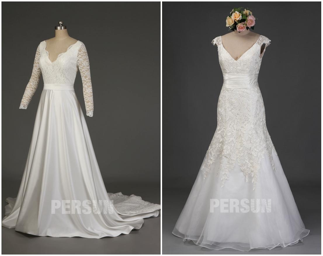 robe mariée décolleté en V avec dentelle manches
