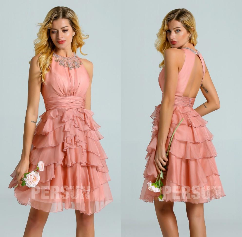 robe courte rose saumon à dos ouvert jupe volants pour mariage
