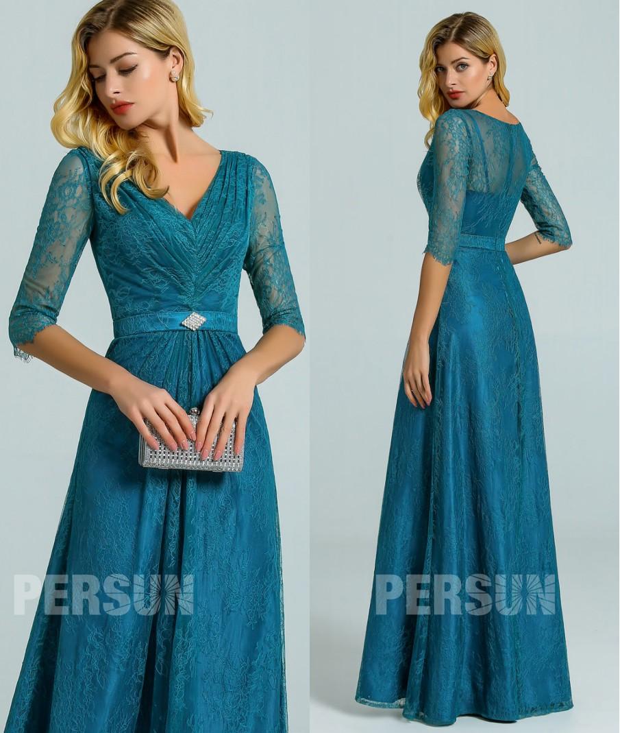 robe dentelle vert pin col v pour invitée mariage avec manches