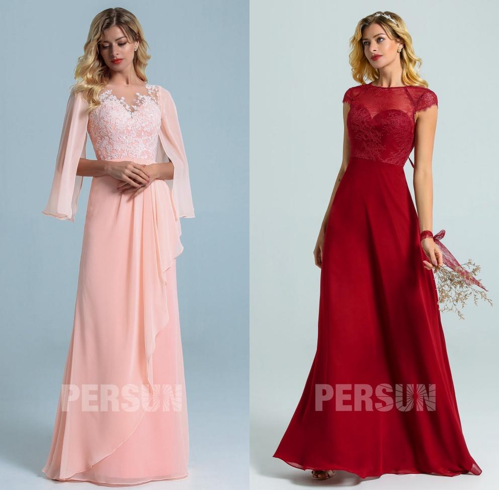 robe soirée longue rose & bordeaux haut dentelle avec manches