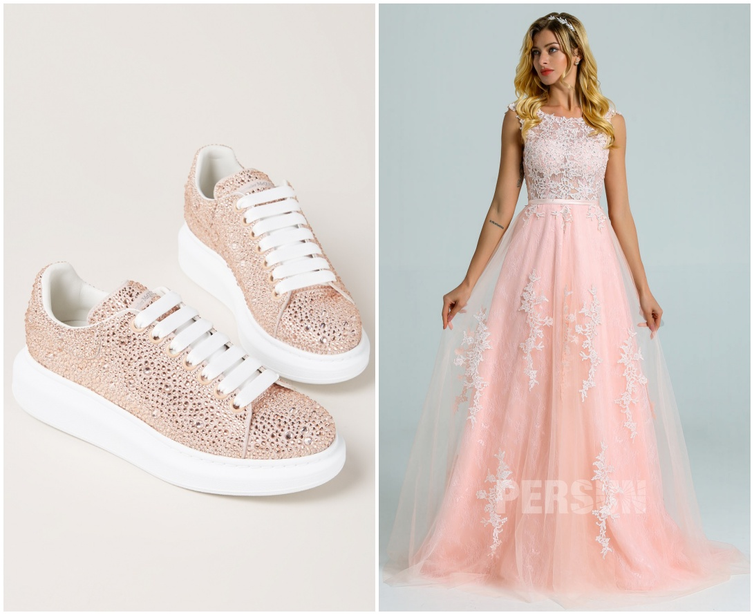sneaker rose avec strass & robe mariée rose perle dentelle