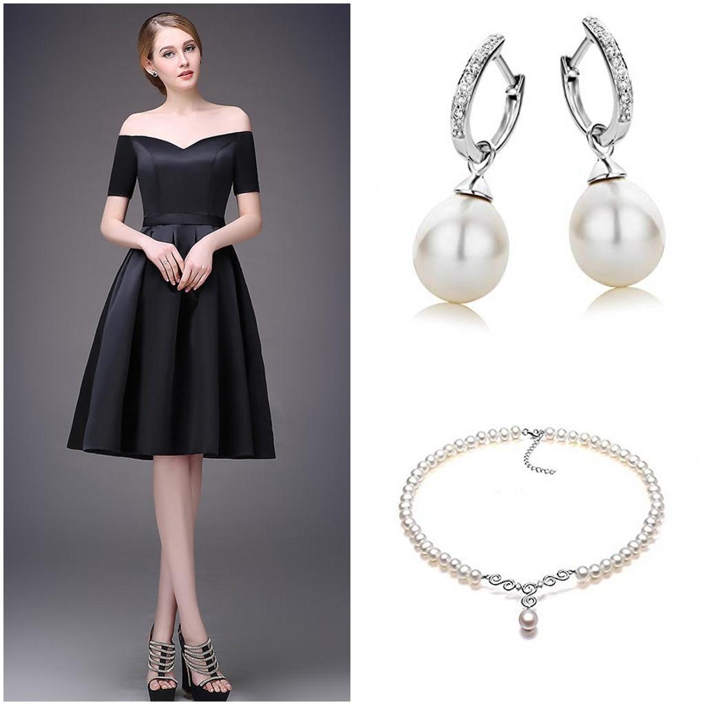 bijoux pour petite robe noire en satin col bardot
