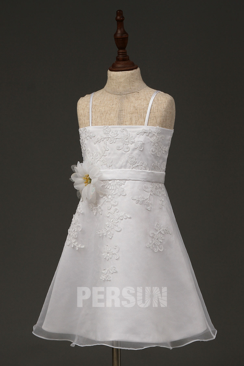 robe cortège fille en organza appliquée de dentelle avec bretelles fines