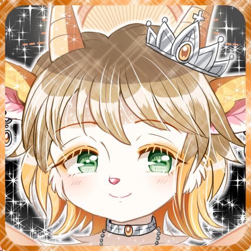 オレンジのケモノ獣人ヤギ娘