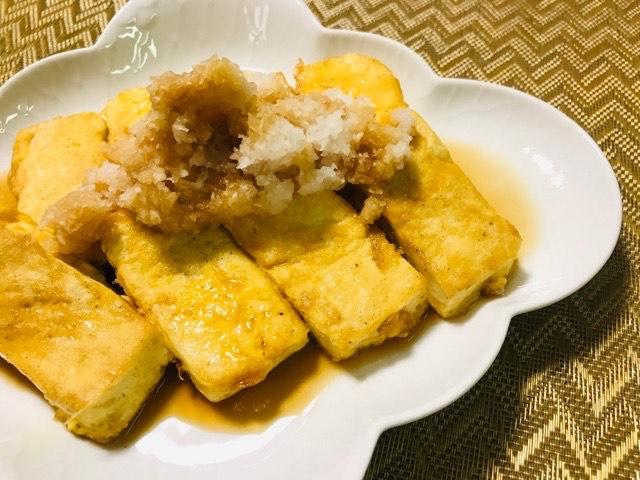 豆腐のピカタに大根おろしをのせて写真