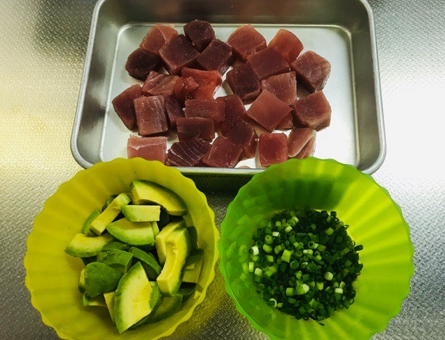 アヒポキ丼の材料