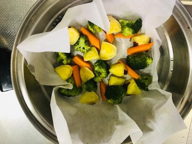 蒸した野菜