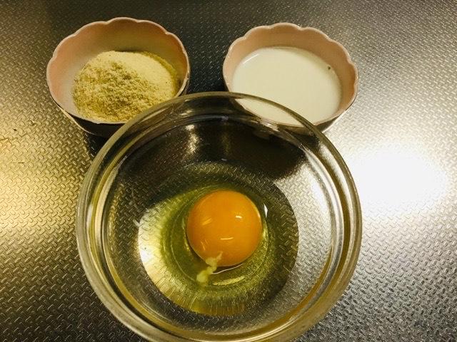 卵、おからパウダー、牛乳