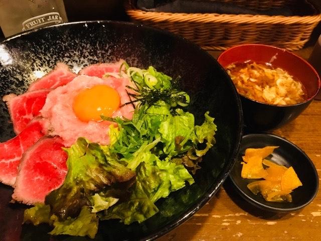 ローストビーフ&ネギトロ丼
