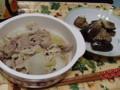 白菜とえのきと豚肉のポン酢がけ~♪お隣は茄子味噌炒め。