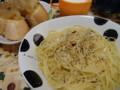 朝昼兼用ごはん。ペペロンチーノと~りんごジャムパン~。