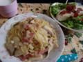 エリンギのペペロンチーノと豆腐の和風サラダ。