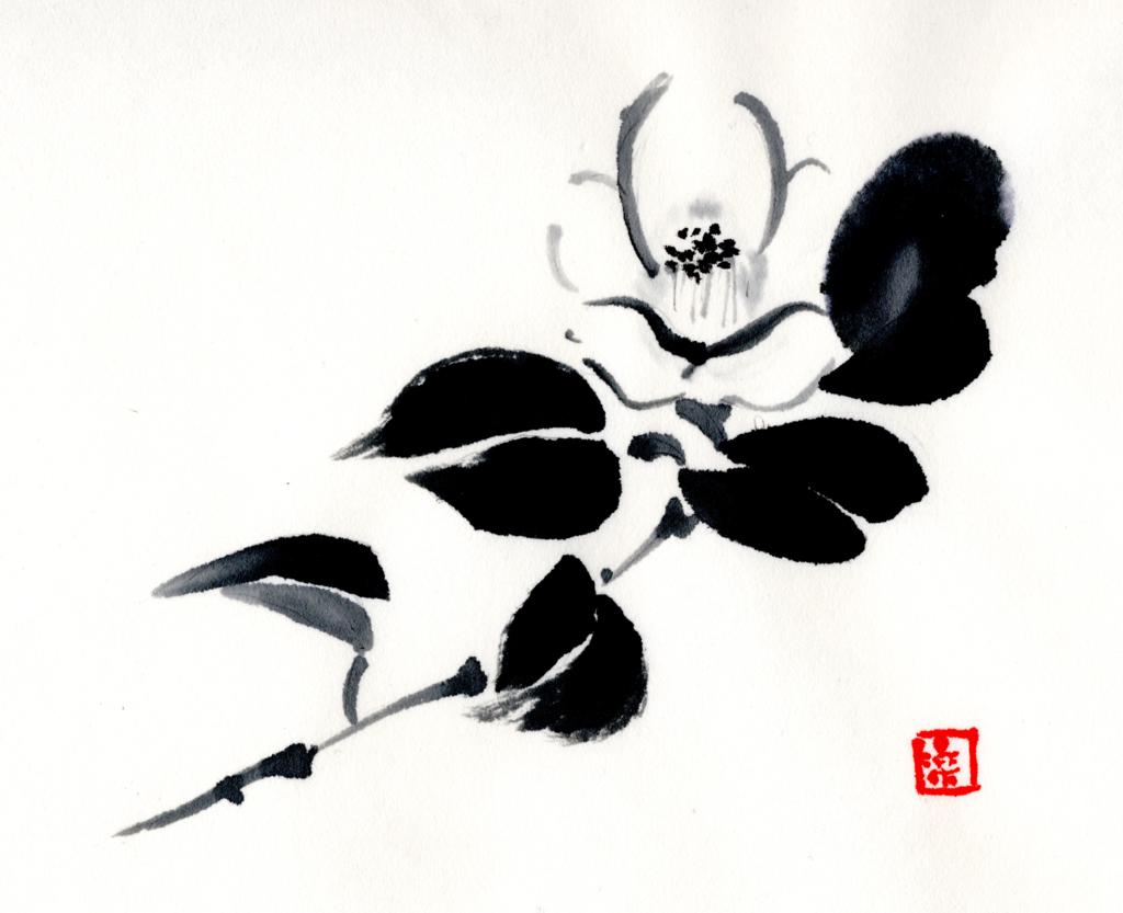 椿 水墨画 墨絵